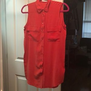 Equipment  red sleeveless silk top